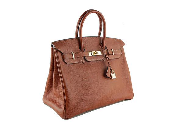 Hermes 35cm Birkin Bag, Buffle Skipper Chestnut Brown Marron Glace, Pristine