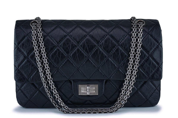 Chanel Black Classic 227 Large 2.55 Reissue Jumbo Flap Bag RHW