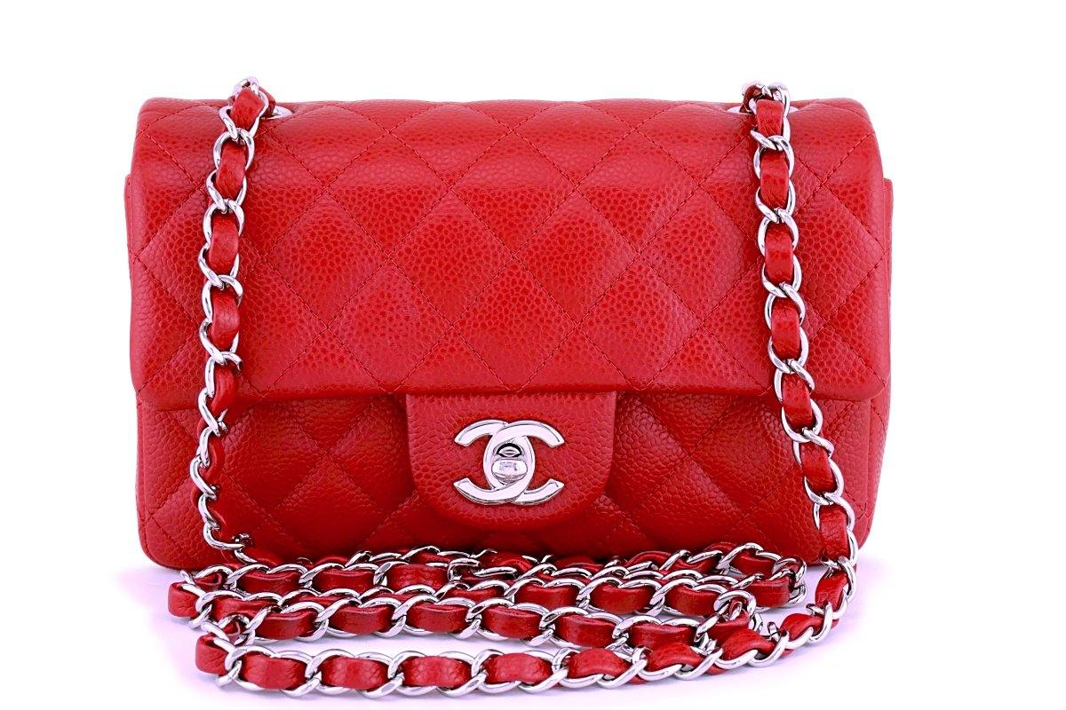 0dc481f471d1 Chanel Red Caviar Classic Quilted Rectangular Mini Flap Bag SHW