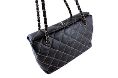 Chanel Black Contrast Classic Flap, Stitched