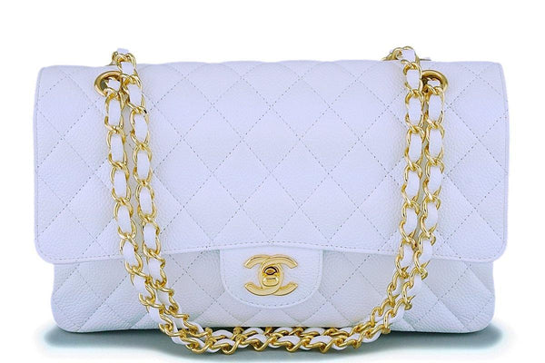 Chanel White Caviar Medium Classic Double Flap Bag GHW