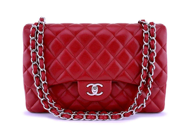 11P Chanel Red Caviar Jumbo Classic Double Flap Bag SHW