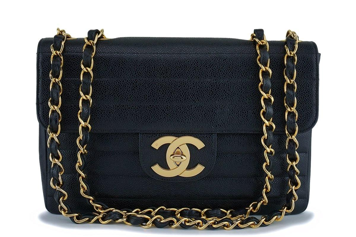 Rare Chanel Vintage Black Caviar Horizontal Jumbo Classic Flap Bag 24k GHW - Boutique Patina