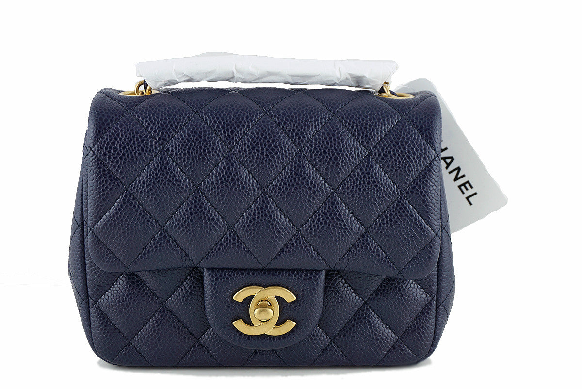 NWT 16C Chanel Navy Caviar  Square Mini 2.55 Classic Flap Bag