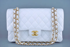 Chanel White Caviar Medium Classic 2.55 Double Flap Bag