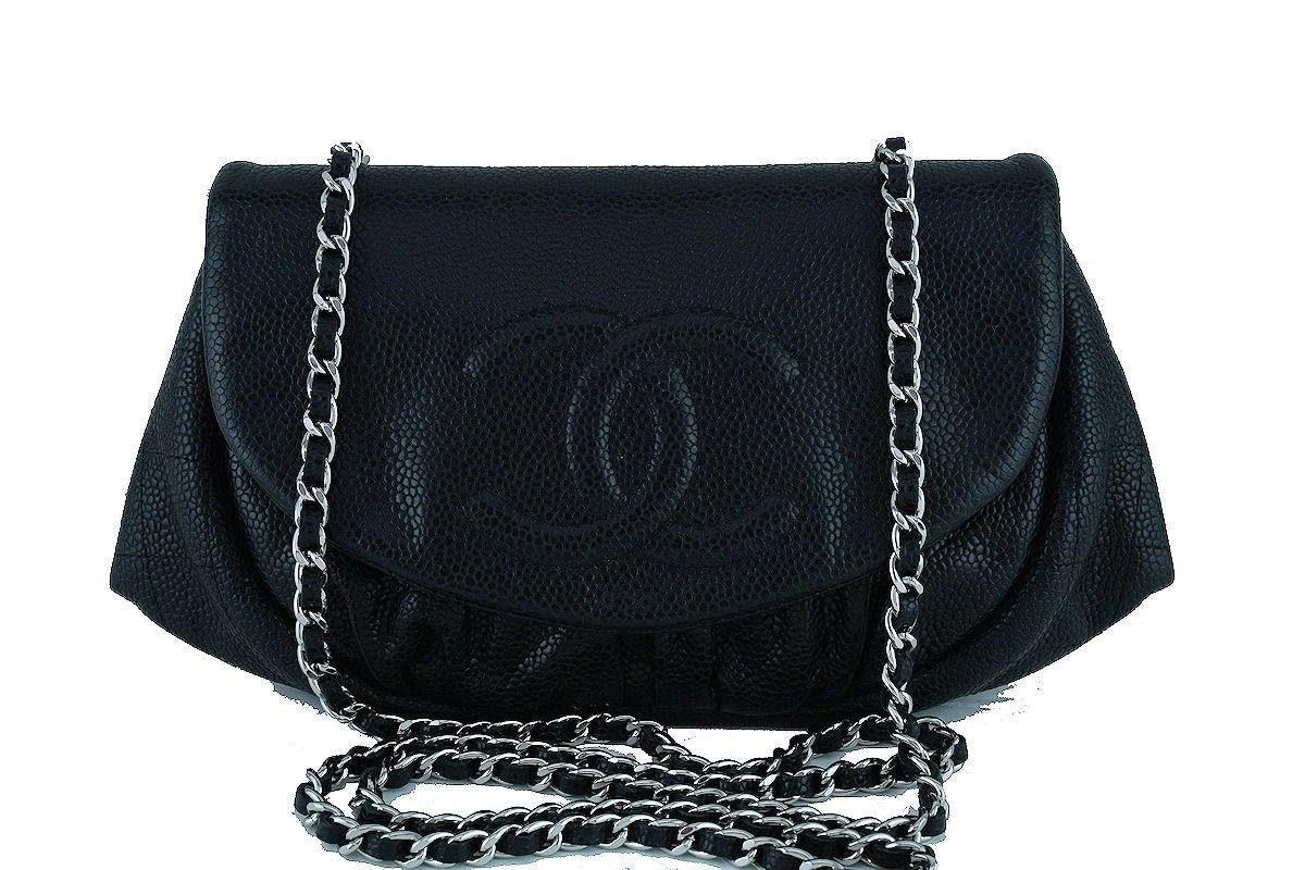 Chanel Black Caviar Half Moon WOC Wallet Chain Purse Bag