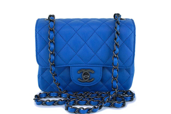 Chanel Blue Classic Quilted Square Mini 2.55 Flap Bag So Black HW