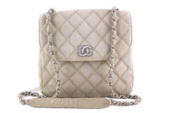 Chanel Taupe Beige Classic Flap, Canvas Bag - Boutique Patina  - 1