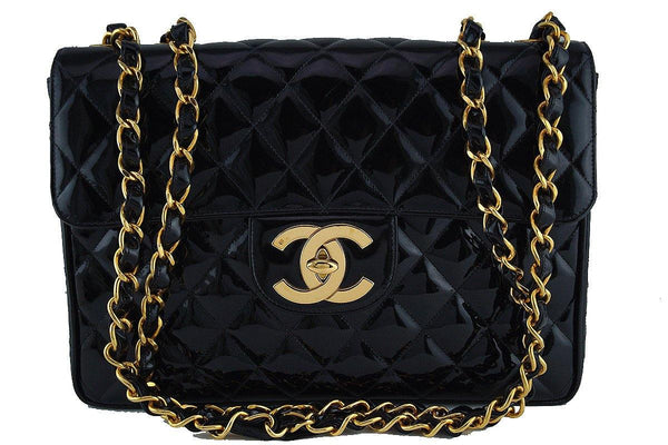 Chanel Black Vintage Patent Jumbo Classic Maxi 2.55 Flap Bag 24k Gold Plated