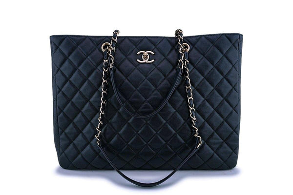 Chanel Black Caviar Large Timeless Classic Grand Shopper Tote Bag GHW