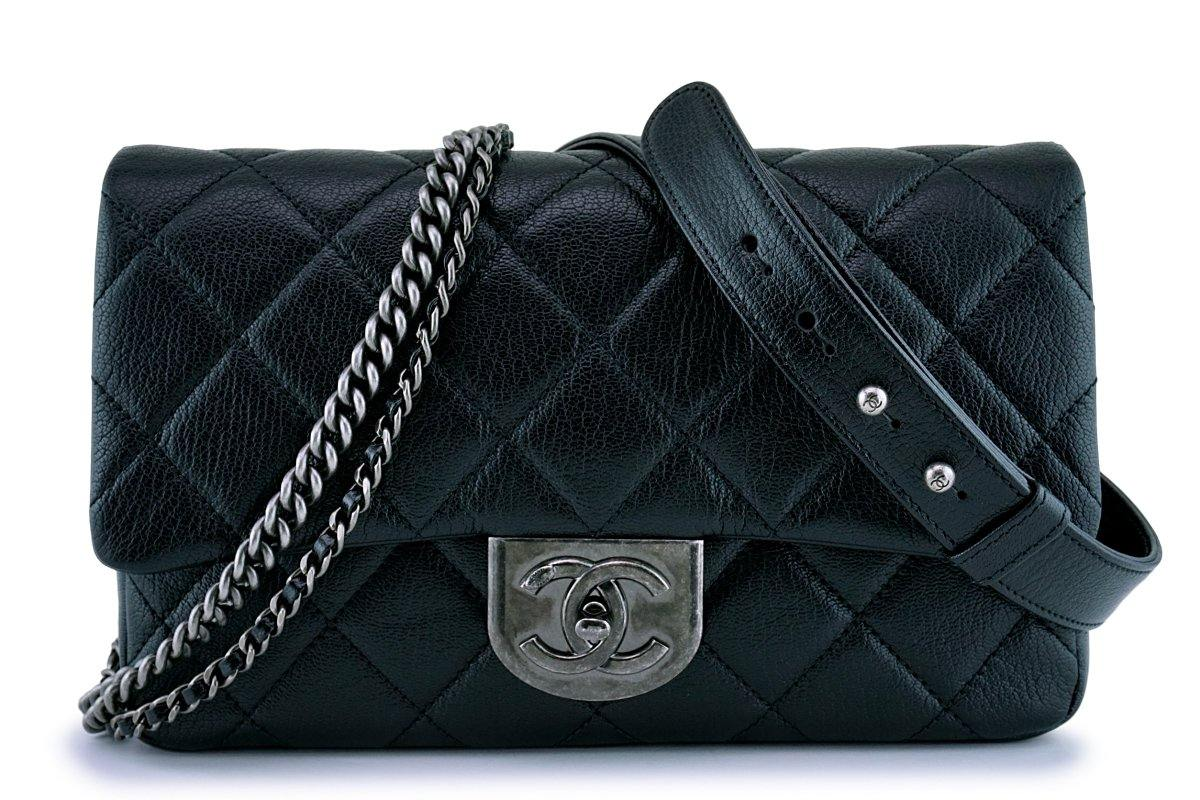 Chanel Black Grained Medium Double Carry Classic Flap Bag