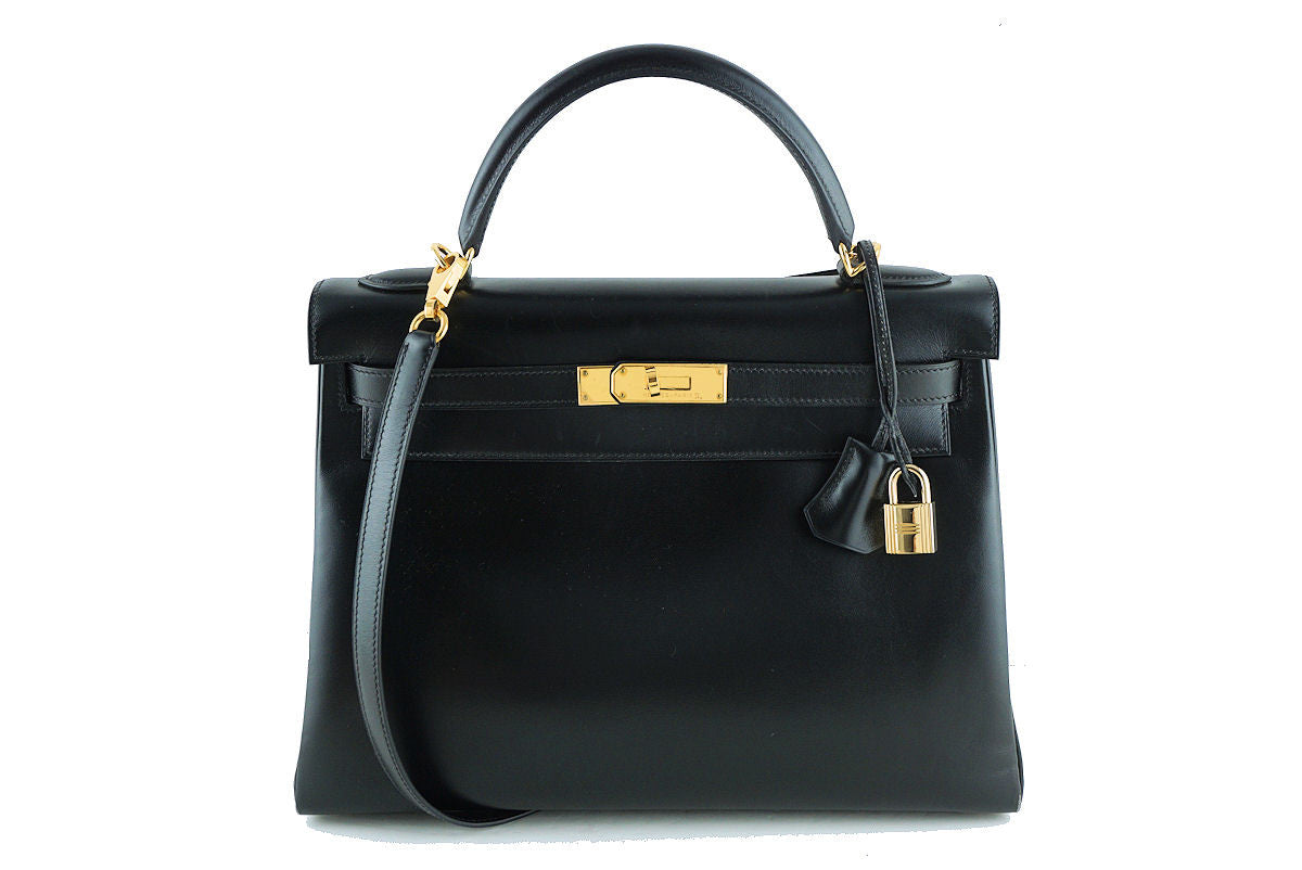 Hermes Kelly Bag, Black 32cm Box calf Retourne GHW - Boutique Patina  - 1