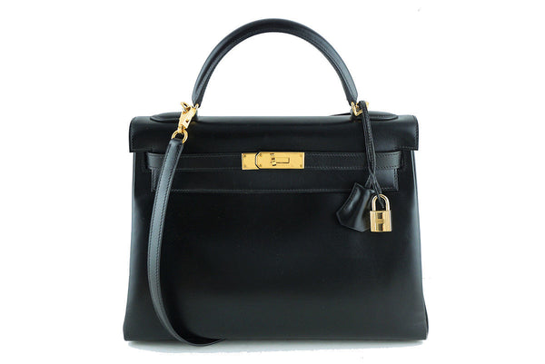 Hermes Kelly Bag, Black 32cm Box calf Retourne GHW