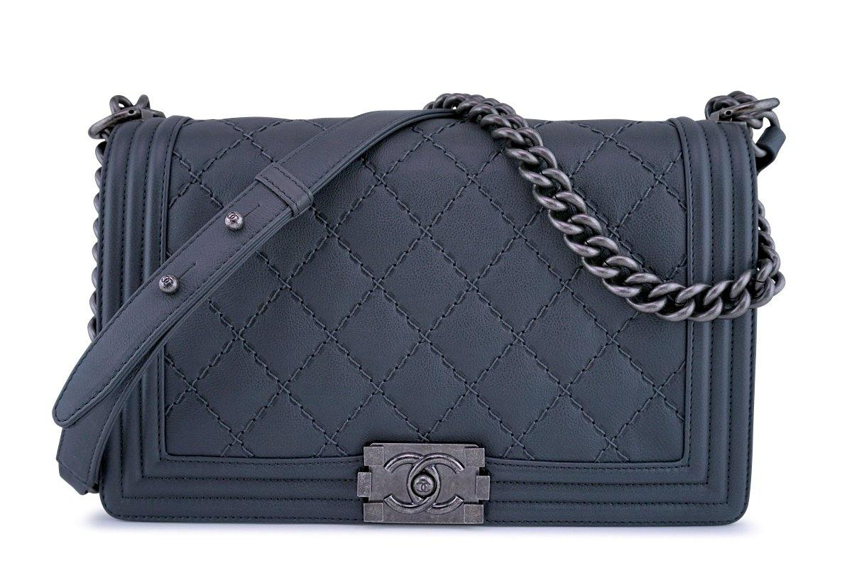 Chanel Gray Boy Classic Flap, Medium Calfskin Bag