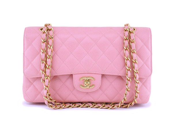 06 Chanel Pink Caviar Medium Classic Double Flap Bag 24k GHW