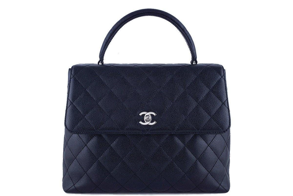 Chanel Black 2.55 Classic Quilted Kelly Flap Satchel Bag