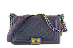 NWT 16C Chanel Iridescent Purple Le Boy Classic Flap, Medium Goatskin Bag