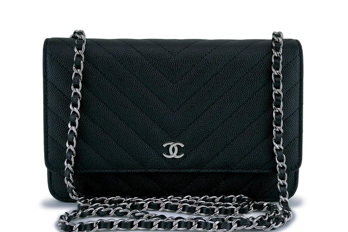 da98f8f81a24 New Chanel Black Caviar Classic Chevron Quilted WOC Wallet on Chain Fl