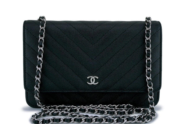 12f99a755712 New Chanel Black Caviar Classic Chevron Quilted WOC Wallet on Chain Flap Bag  SHW