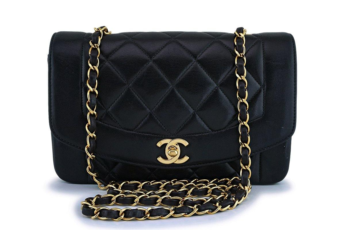 Chanel Black Vintage Lambskin Diana Small Classic Flap Bag 24k GHW