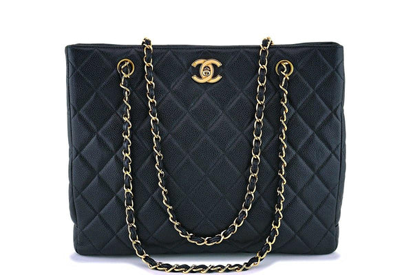 Chanel Vintage Caviar Medium Classic Shopper Tote Bag 24k GHW