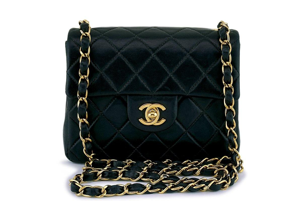 Chanel Black Classic Quilted Square Mini Flap Bag 24k GHW