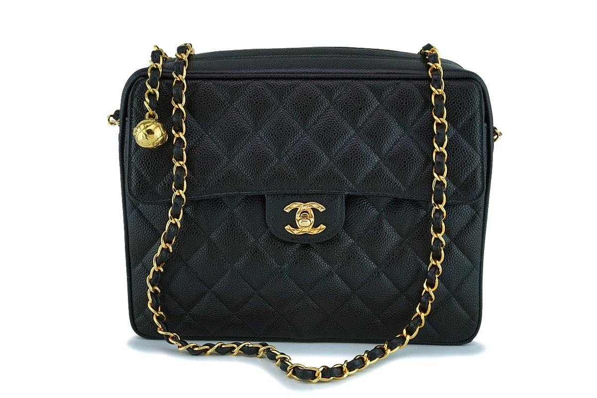 Chanel Vintage Black Caviar Classic Flap Camera Bag 24k GHW