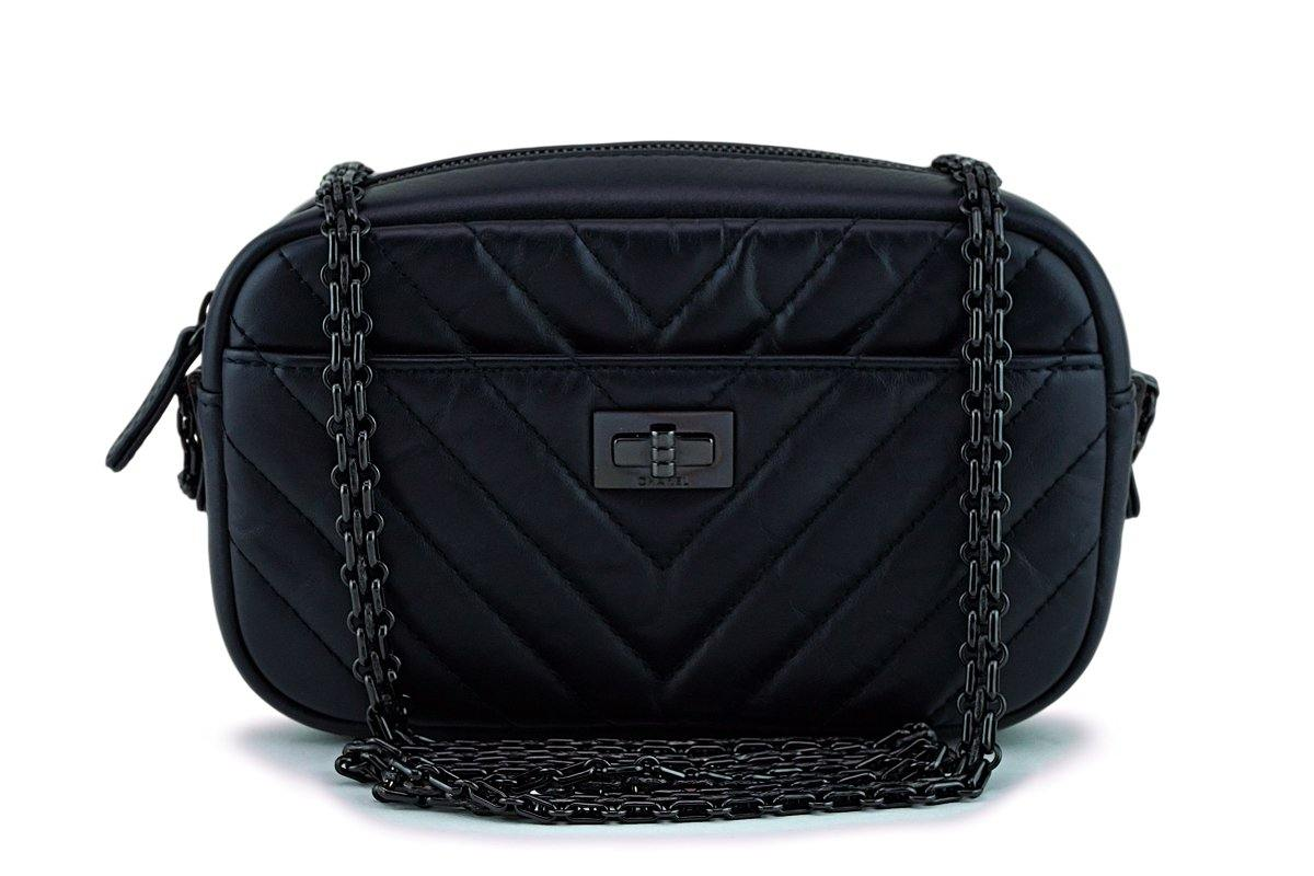 2018 Chanel So Black Chevron Reissue Camera Case Bag