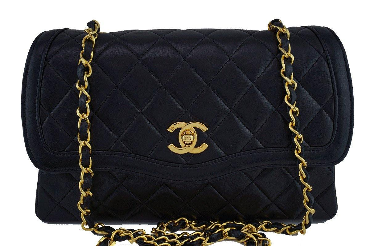 Chanel Black Vintage Quilted Classic 2.55 Flap and Wallet set Bag
