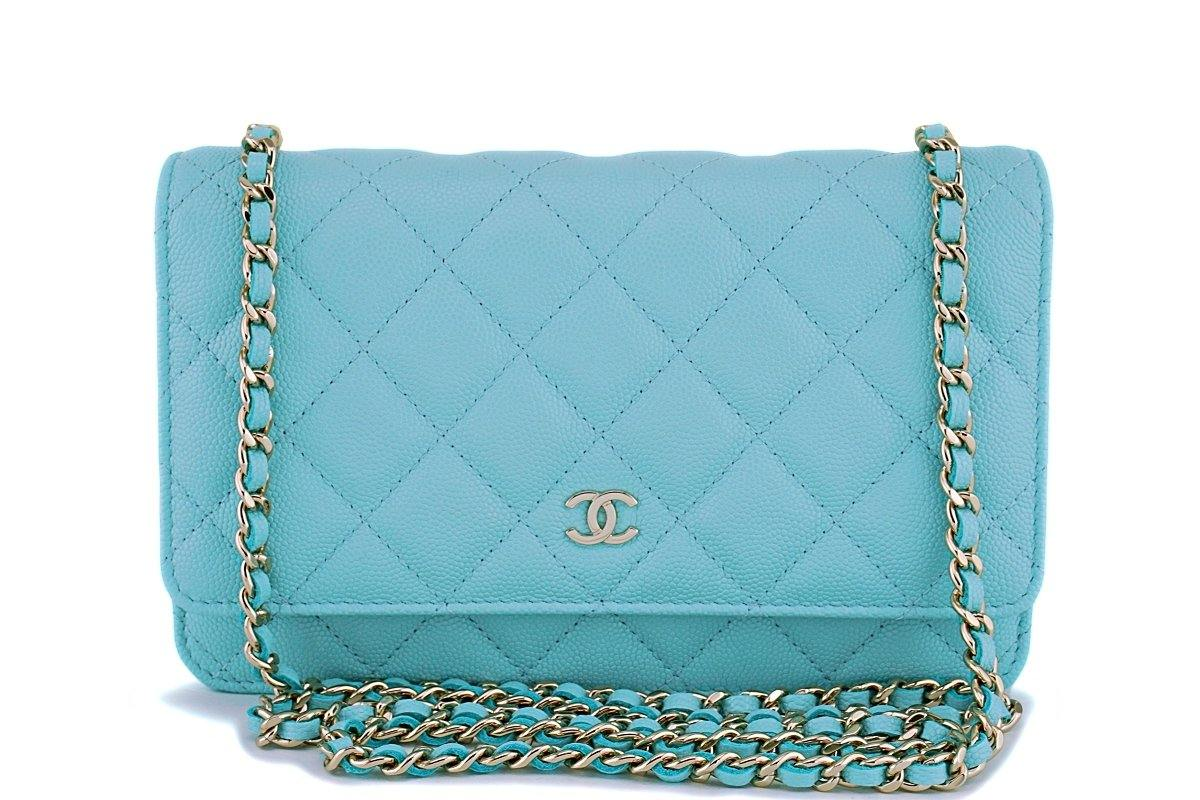 570ccde3984e NIB 19C Chanel Lt Turquoise Blue Caviar Classic Wallet on Chain WOC Mi