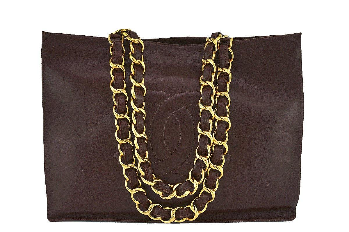 Chanel Chocolate Brown Vintage Grand Chunky Chain GST Shopper Tote Bag