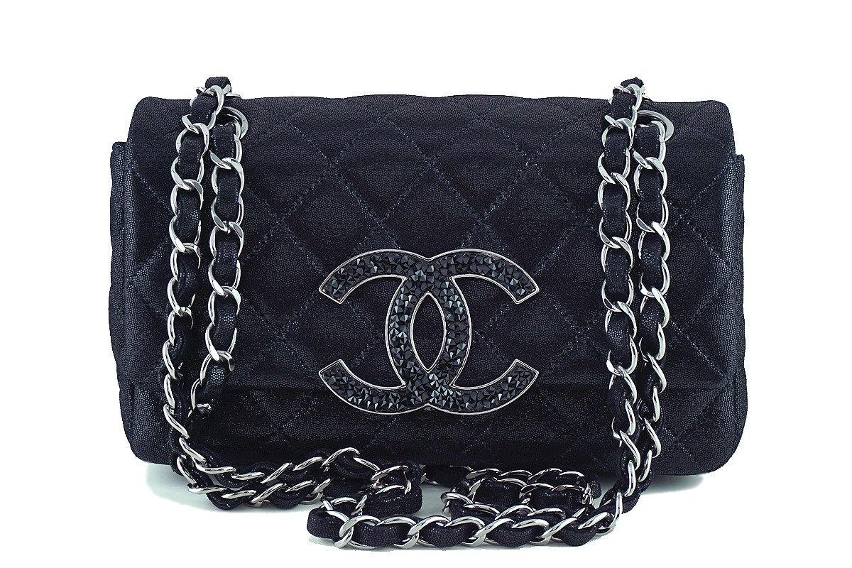 02d19729fbda Chanel Metallic Black Crystals Jumbo CC Classic Rectangular Mini Flap