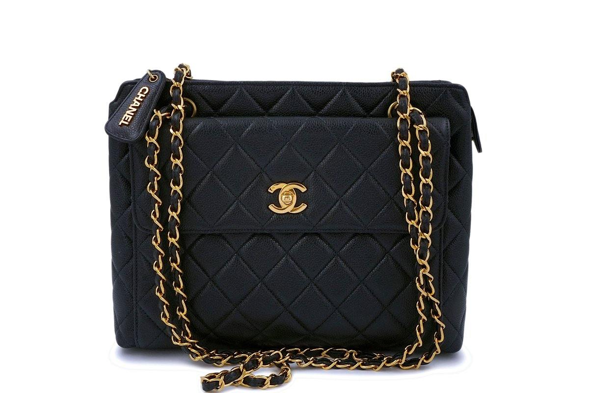 Chanel Vintage Black Caviar Front Flap Tote Bag 24k GHW - Boutique Patina