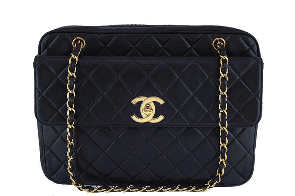 Chanel Black Vintage Maxi Jumbo XL Classic Camera Bag w Flap