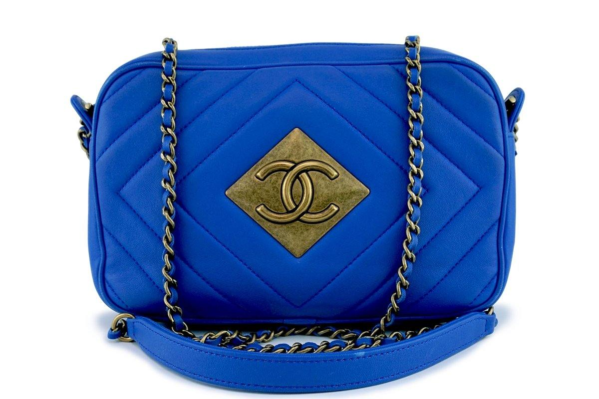 Chanel Turquoise Blue Timeless Classic Camera Case Bag - Boutique Patina