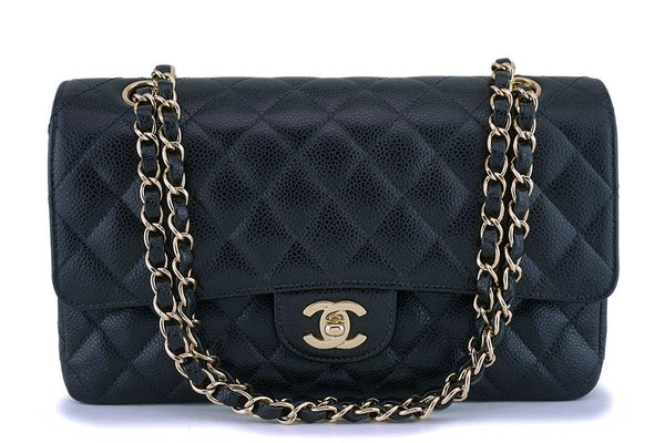 Chanel Black Caviar Medium Classic Double Flap Bag 24K GHW
