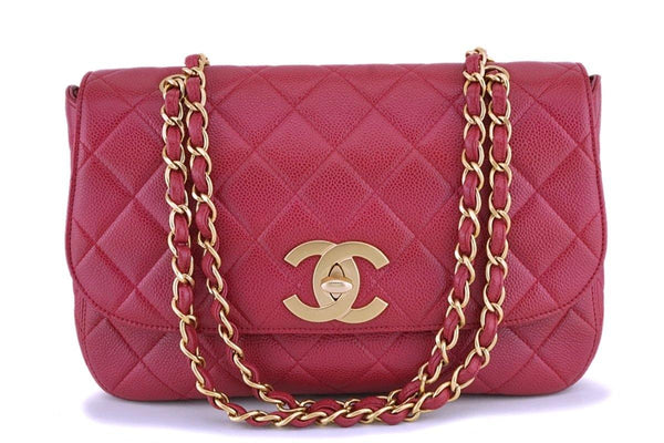 Rare Chanel Vintage Red Caviar Flap with Classic Jumbo CCs Bag GHW