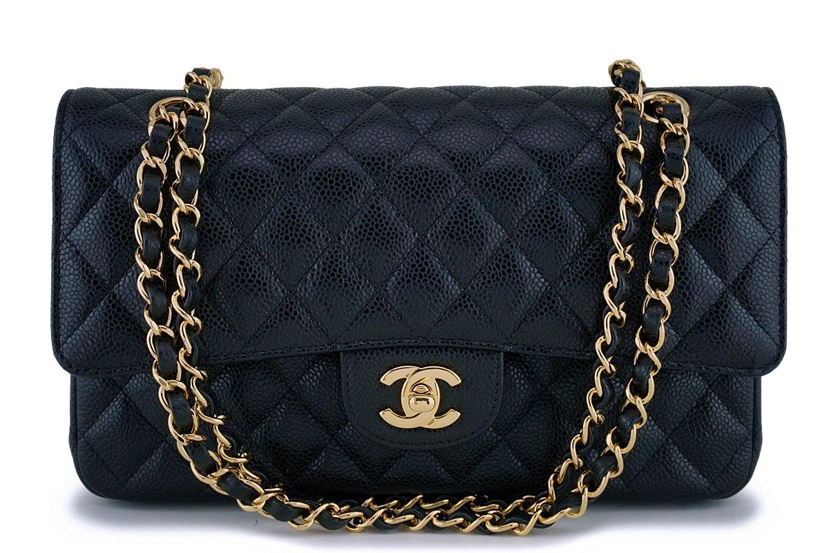 Chanel Black Caviar Medium Classic Double Flap Bag GHW (NEW)