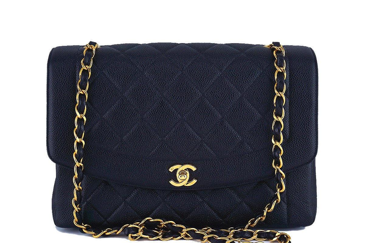 "Rare 11"" Chanel Black Vintage Quilted Classic Diana Shoulder Flap Bag 62047 - Boutique Patina  - 1"