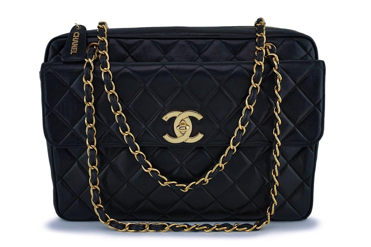 Chanel Black Vintage Maxi Jumbo XL Classic Camera Bag Flap Tote 24k GHW