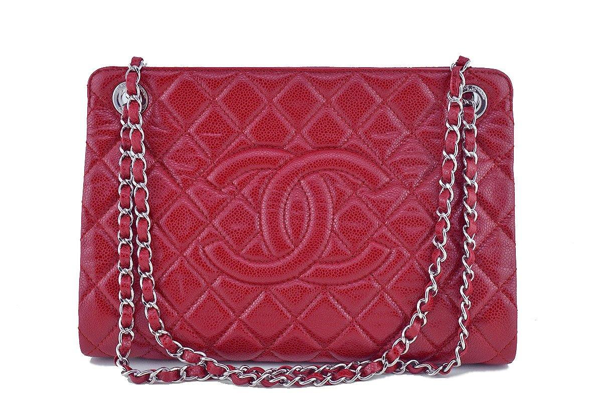 3fbabf3e4537 Chanel Red Caviar Quilted Framed Grand Shopping Tote GST Bag