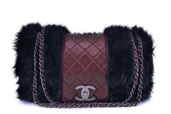 Chanel Burgundy Maxi XL Jumbo Quilted Classic Fantasy Fur Flap Bag