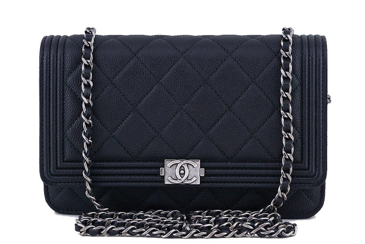 NWT 16A Chanel Black Caviar Boy Classic Quilted WOC Wallet on Chain Flap Bag - Boutique Patina  - 1