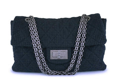 Rare Chanel Black Tweed XXL Supermodel Reissue Flap Bag Weekender RHW