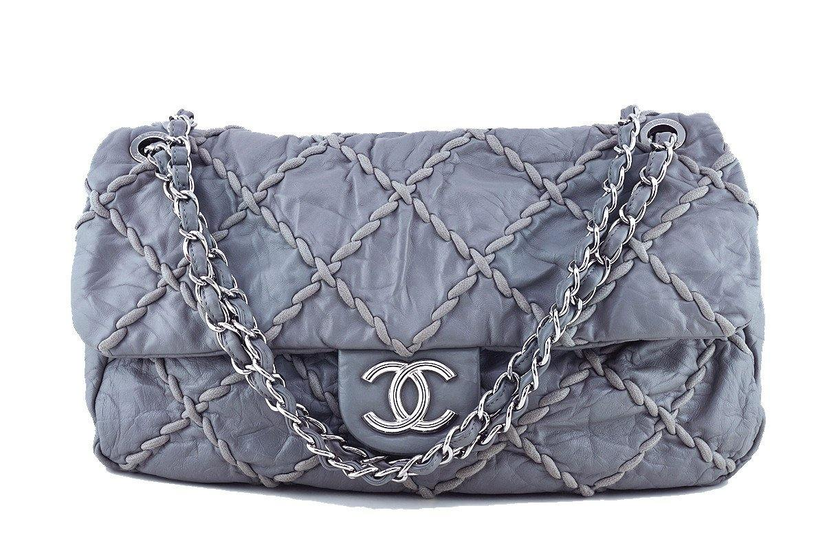 Chanel Gray 14in. Maxi Ultra Stitch Jumbo Classic Flap Bag 61754 - Boutique Patina  - 1
