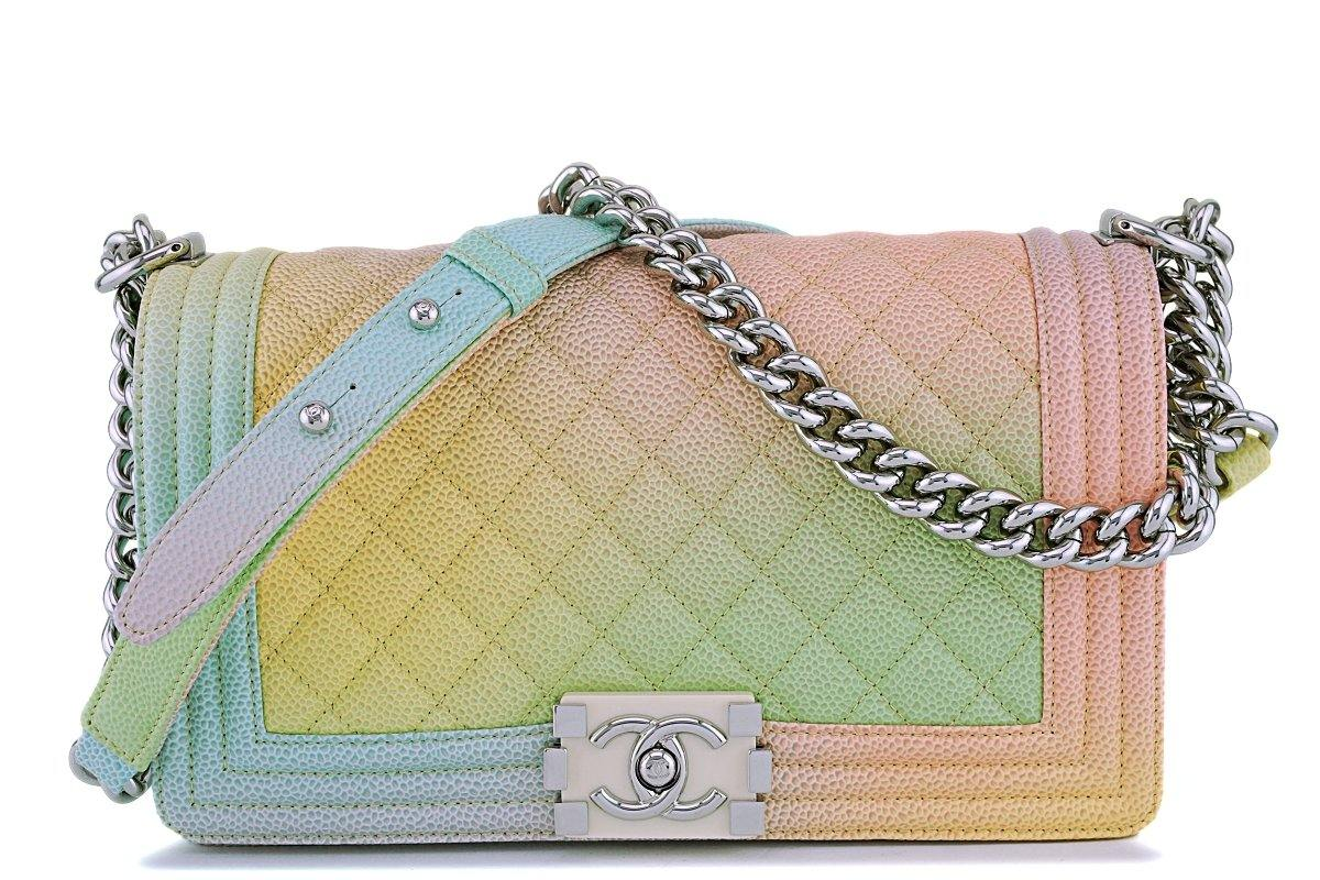 18P Chanel Multicolor Rainbow Caviar Medium Classic Boy Flap Bag
