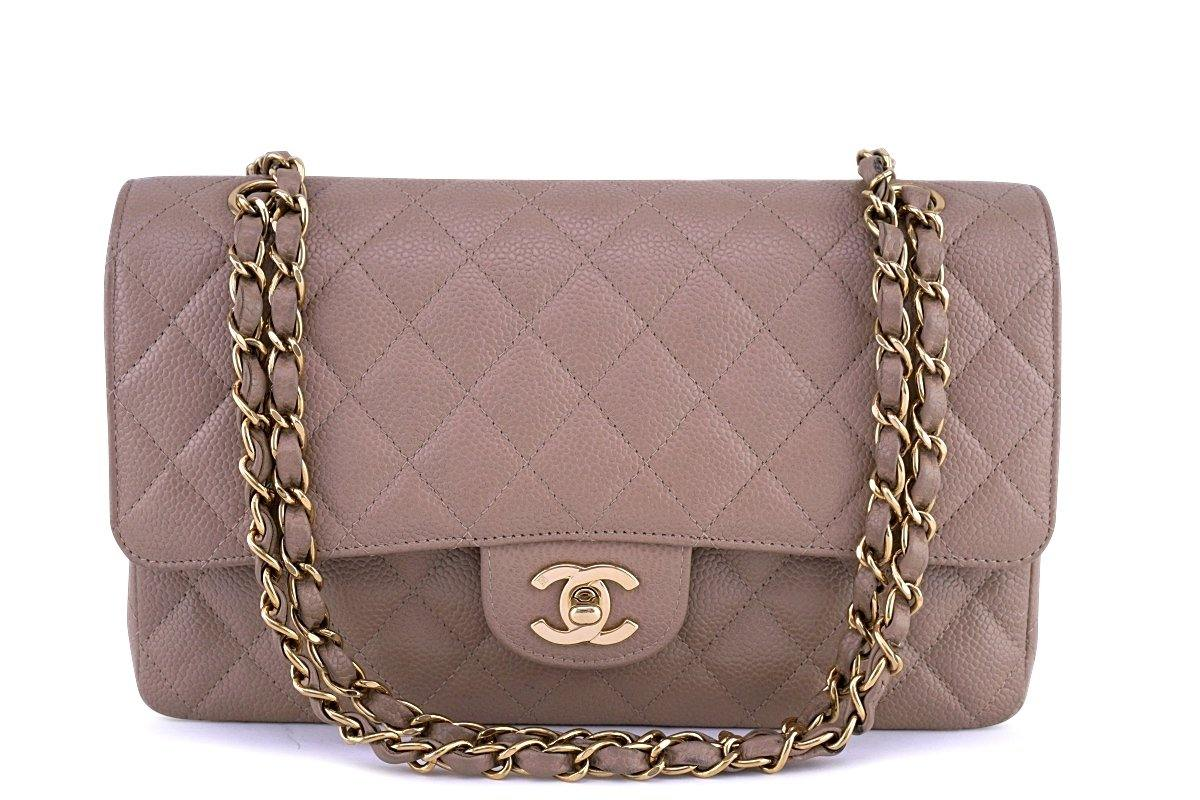 48be8719ff32 Chanel Taupe Beige Caviar Medium Classic 2.55 Double Flap Bag