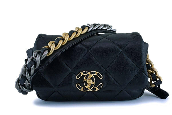 NIB Chanel 20C Black Lambskin Chanel 19 Fanny Pack Belt Bag Limited