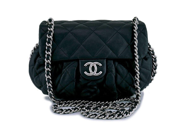 dcc5d701340d Chanel Black Medium Chain Around Rounded Classic Cross Body Flap Bag