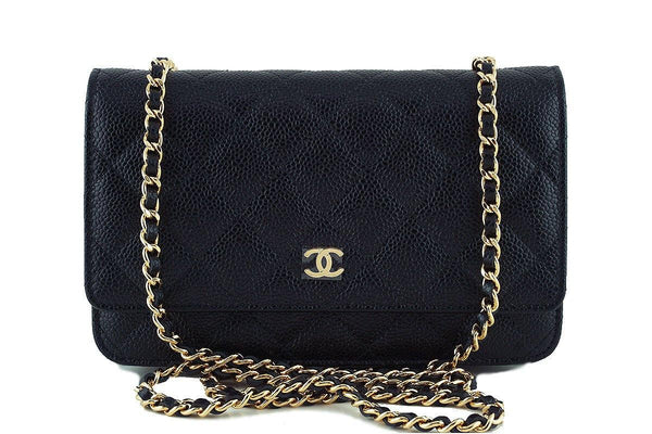 NWT Chanel Black Caviar Classic Quilted WOC Wallet on Chain Flap Bag